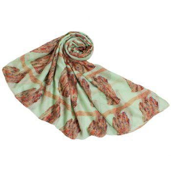 Chic Long Owl Pattern Women's Voile Scarf - LIGHT GREEN