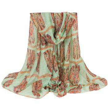 Chic Long Owl Pattern Women's Voile Scarf