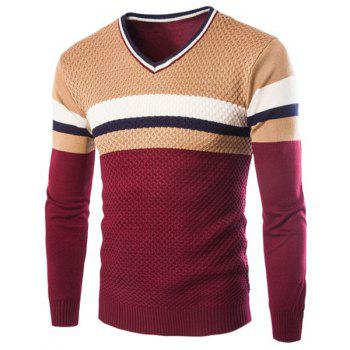 Slimming V-Neck Hit Color Stripes Wave Twist Flowers Long Sleeves Men's Cashmere Blend Sweater