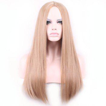 Fashionable Light Brown Centre Parting Long Synthetic Silky Straight Capless Wig For Women