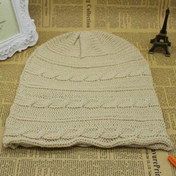 Stylish Solid Color Hemp Flower Embellished Knitted Beanie For Men and Women - OFF WHITE