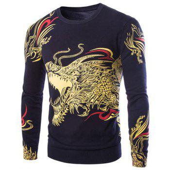 Cool 3D Dragon Pattern Printing Rhinestone Embellished Round Neck Long Sleeves Men's Slim Fit Sweater
