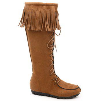 Elegant Fringe and Zipper Design Mid-Calf Boots For Women