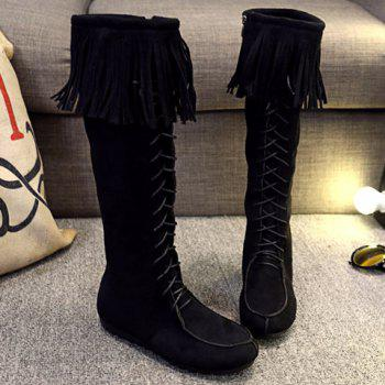 Elegant Fringe and Zipper Design Mid-Calf Boots For Women - BLACK 37