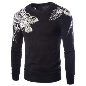 Rhinestone Embellished Dragon Pattern Jacquard Hit Color Round Neck Long Sleeves Men's Slim Fit Sweater