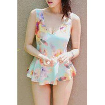 Stylish V-Neck Colorful Pleated One-Piece Swimsuit For Women