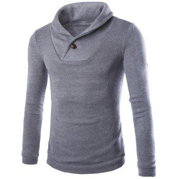 Inclined Turn-down Collar One Button Embellished Solid Color Long Sleeves Men's Vogue Sweater