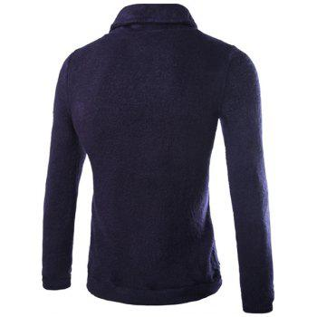 Inclined Turn-down Collar One Button Embellished Solid Color Long Sleeves Men's Vogue Sweater - CADETBLUE M