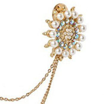 Faux Pearl Rhinestone Flower Sweater Guard Brooch -  WHITE