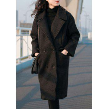Chic Turn-Down Neck Long Sleeves Pocket Design Pure Color Women's Coat
