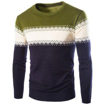 Color Block Spliced Rhombus Jacquard Slimming Round Neck Long Sleeves Men's Cashmere Blend Sweater