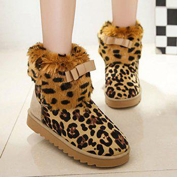 Stylish Leopard Print and Bowknot Design Snow Boots For Women - OFF WHITE 37