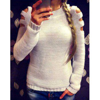 Trendy Round Neck Long Sleeve Cut Out Pure Color Women's Sweater