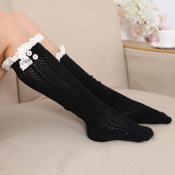 Pair of Chic Tassel Pendant and Lace Edge Embellished Women's Knitted Stockings -  RANDOM COLOR