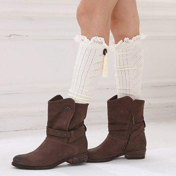 Pair of Chic Tassel Pendant and Lace Edge Embellished Women's Knitted Stockings