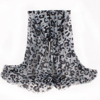 Chic Leopard Pattern Fringed Edge Women's Voile Scarf