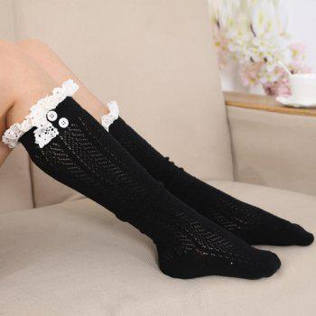Pair of Chic Lace and Button Embellished Hollow Out Herringbone Women's Stockings -  RANDOM COLOR