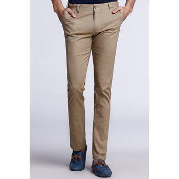 Plus Size Straight Leg Patch Pocket Button Design Solid Color Fitted Zipper Fly Men's Thin Pants