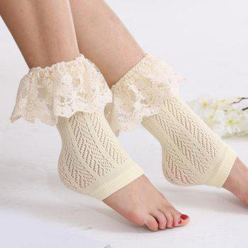 Pair of Chic Lace Brim Hollow Out Herringbone Women's Foot Step Boot Cuffs - WHITE WHITE
