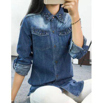 Attractive Rivet Decorated Long Sleeve Loose Denim Shirt For Women - DEEP BLUE L