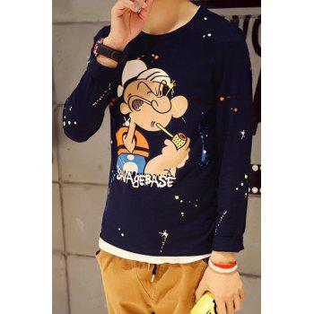Round Neck Colorful Paint Dot Popeye Print Slimming Long Sleeve Men's T-Shirt