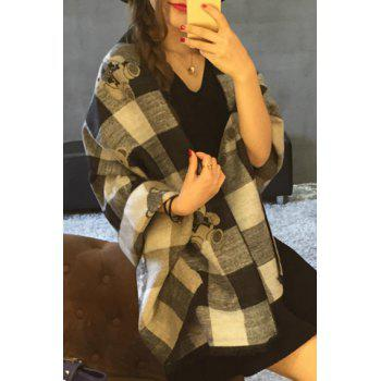 Chic Toy Bear and Plaid Pattern Fringed Edge Women's Warmth Pashmina - GRAY