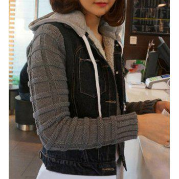 Chic Pocket Turn-Down Splicing Hooded Long Sleeve Collar Denim Coat - BLACK S