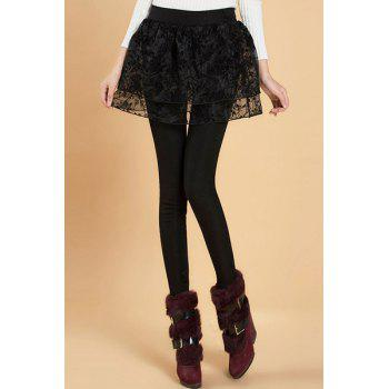 Stylish Elastic Waist Solid Color Flower Pattern Women's Leggings
