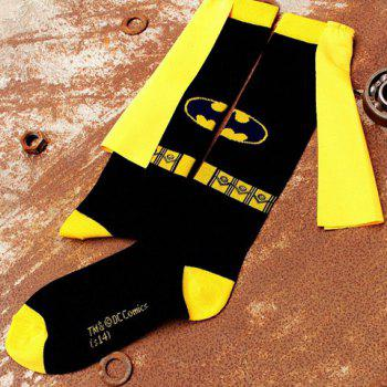 Pair of Stylish Cloth Strap Embellished Batman Mark Pattern Men's Socks