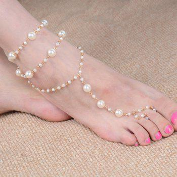 Noble Faux Pearl Layered Anklet For Women - GOLDEN GOLDEN