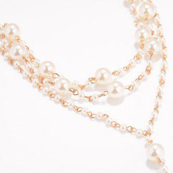 Noble Faux Pearl Layered Anklet For Women - GOLDEN