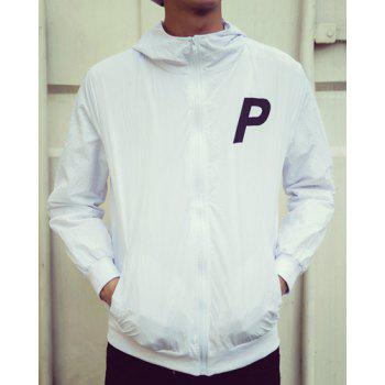 Casual Loose Fit Hooded Hit Color Letters Print Rib Spliced Long Sleeves Men's Zip Up Jacket