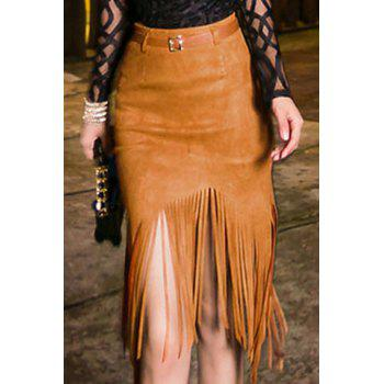 Chic High-Waisted Fringed Pure Color Women's Skirt - CAMEL S
