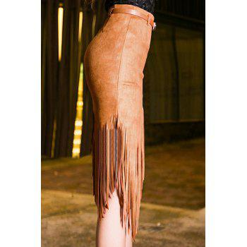 Chic High-Waisted Fringed Pure Color Women's Skirt - CAMEL CAMEL