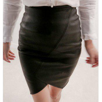 Chic High-Waisted Asymmetrical Pure Color Women's Skirt