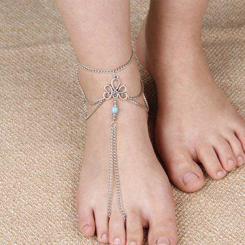 Bead Multilayered Chain Tassel Anklet - SILVER SILVER