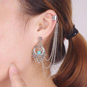 ONE PIECE Vintage Faux Turquoise Tassel Hollow Out Ear Cuff