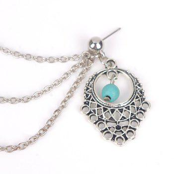 ONE PIECE Vintage Faux Turquoise Tassel Hollow Out Ear Cuff - SILVER