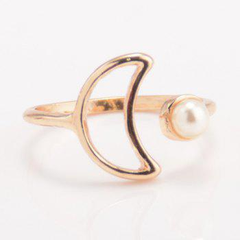 Faux Pearl Crescent Cuff Ring