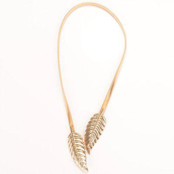 Delicate Solid Color Leaf Stretchy Belly Chain For Women - GOLDEN