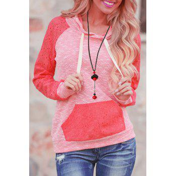 Stylish Hooded Candy Color Hollow Out Pullover Hoodie For Women