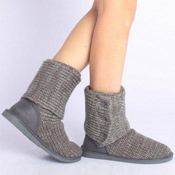 Stylish Knitting and Button Design Snow Boots For Women - GRAY 38