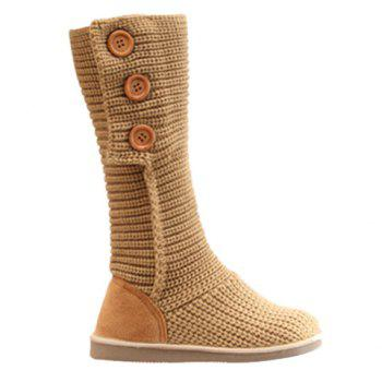 Stylish Knitting and Button Design Snow Boots For Women