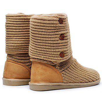 Stylish Knitting and Button Design Snow Boots For Women - CAMEL 36