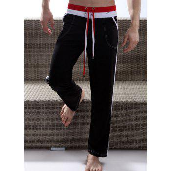 Personality Double Drawstring Waist Striped Spliced Color Block Straight Leg Men's Fitted Yoga Pants