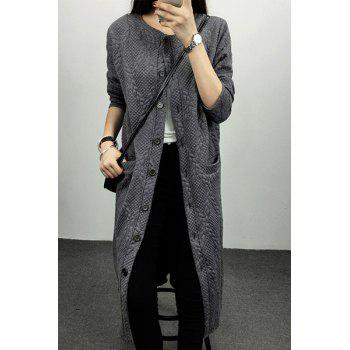 Women's Elegant Long Sleeve Loose Pure Color Long Cardigan