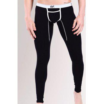 Color Block Low Waist Suture Stripes Spliced Sexy U Convex Pouch Men's Modal Long Johns Pants