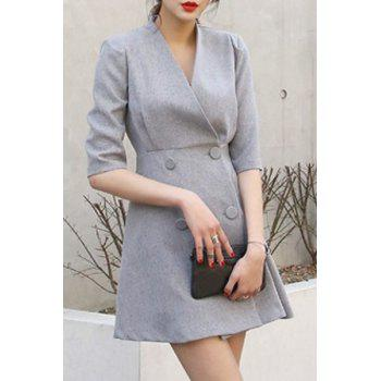Women's Chic 1/2 Sleeve V-Neck Double Breasted A-Line Dress - LIGHT GRAY S