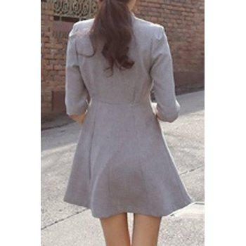 Women's Chic 1/2 Sleeve V-Neck Double Breasted A-Line Dress - S S