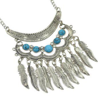 A Suit of Leaf Necklace and Earrings - SILVER